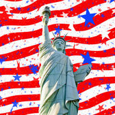 Statue liberty stars stripes for 4th july — Stock Photo