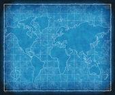 Map of the world blueprint — Stock Photo