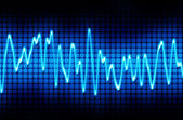 Blue electronic sine sound wave — Stock Photo