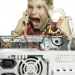 Repair your computer. A young man calls to technical support. — Stock Photo #6051140