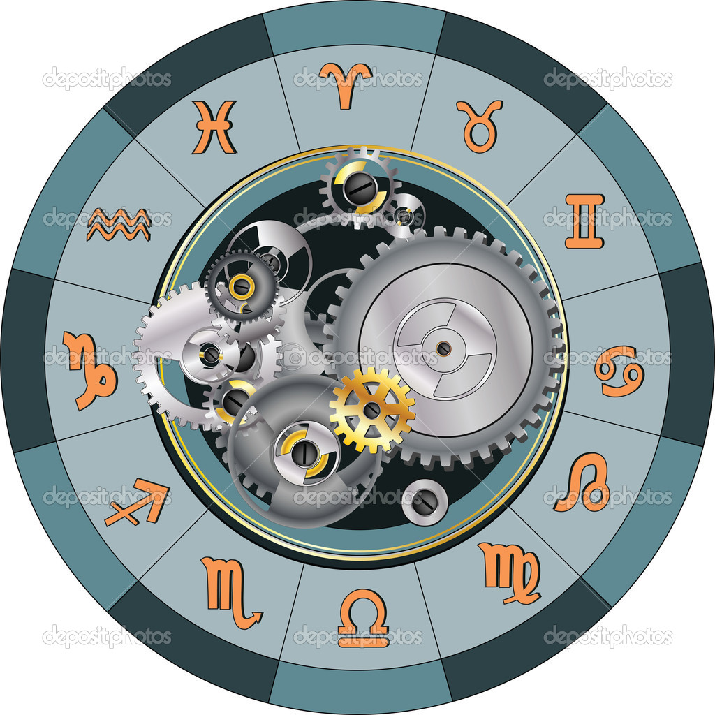Wheel and zodiac signs astrology technology — Stock Vector #5395268