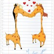 Giraffes and hearts.Cartoon — Stock Vector