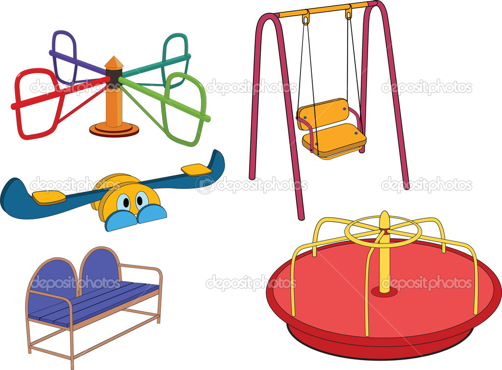 The complete set a childrens swing. Cartoon — Stock Vector ...