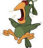 The scared Parrot.Cartoon — Stock Vector