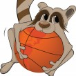 Raccoon and a basketball ball. Cartoon — Stock Vector