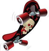 Skate board with a skull. Cartoon — Stock Vector