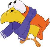 žlutý pták v šálu. kreslený — Stock vektor