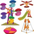 The complete set a children&#039;s swing. Cartoon - Stock Vector