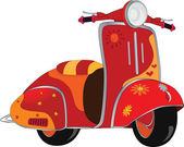 Motor scooter for hippie. Cartoon — Stock Vector