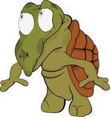 Small turtle. Cartoon — Vector de stock