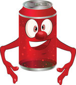 Lata de metal alegre para bebidas. desenhos animados — Vetor de Stock
