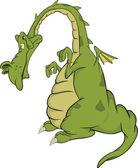 Kind green dragon.Cartoon — Stock Vector