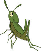 Green grasshopper. Cartoon — Stock Vector