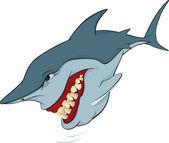 Cheerful shark. Cartoon — Stock Vector