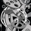 It is black a white abstract pattern with gears — Stock Vector
