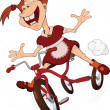 Stock Vector: Cheerful girl and tricycle. Cartoon