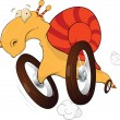 Snail on wheels. The race driver. Cartoon — Stock Vector