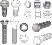 The complete set bolts and nuts . Clip-Art — Stock Vector