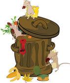 Garbage bank and rats. Cartoon — Stock Vector
