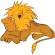 Young lion. Cartoon — Imagen vectorial