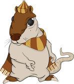 帽子とスカーフのラット。漫画 — ストックベクタ