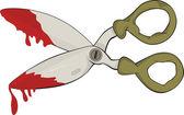 Scissors in blood.Halloween. Cartoon — Stock Vector