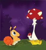 Fairy tale about a snail and a mushroom a fly agaric.Cartoon — Stock Vector
