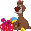 Birthday. A bear and gifts. Cartoon - Stock Vector