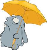 Blue rabbit and umbrella. Cartoon — Stock Vector