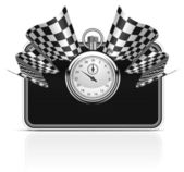 Checkered flag with a stopwatch background — Stock Vector