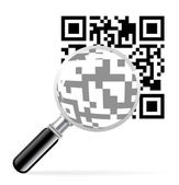 QR code with loupe — Stock Vector