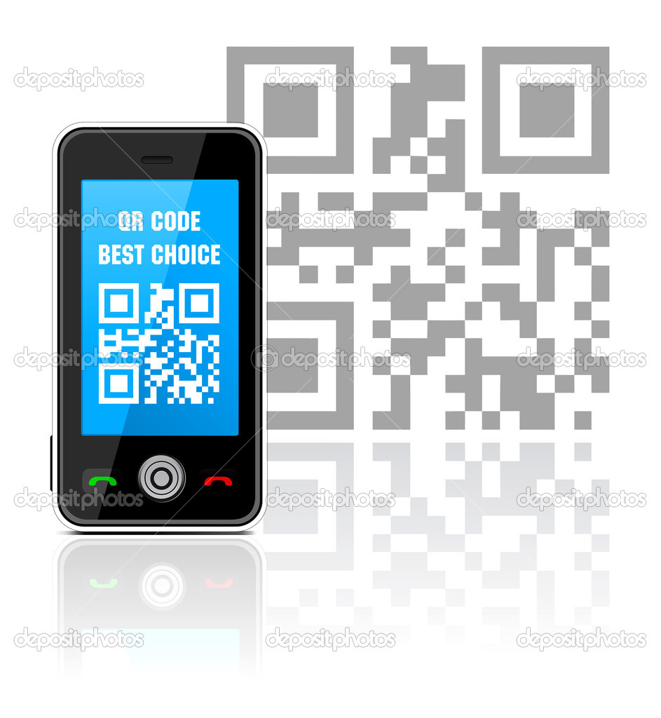Cell phone with QR code - best choice. Vector illustration — Stock Vector #6450342