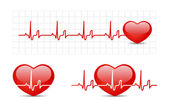Cardiograma de corazón con corazón — Vector de stock