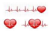 Hjärtat elektrokardiogram med hjärta — Stockvektor