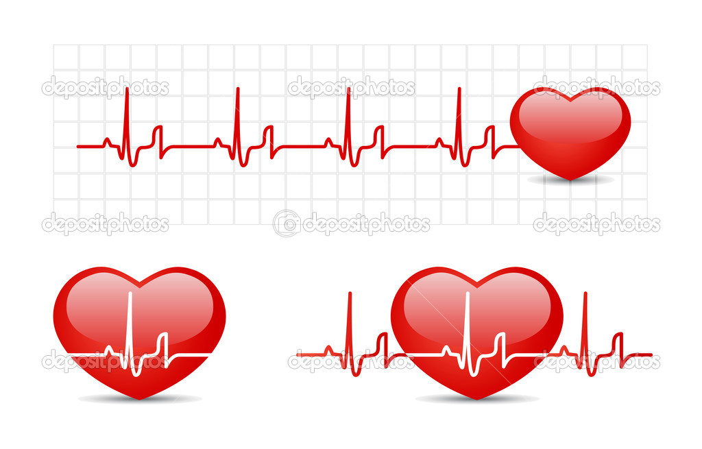 Heart cardiogram with heart. Vector illustration set — Stock Vector #6574038