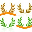 Laurel wreath with ribbon — Stock Vector