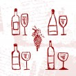 Set of alcohol's bottles and wineglasses on grunge background — 图库矢量图片