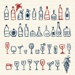 Stock Vector: Sketch of alcohol's bottles and wineglasses