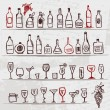 Set of alcohol's bottles and wineglasses on grunge background — Stock Vector #5553548