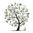 Art tree concept with business icons for your design - Stock Vector