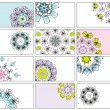 Set of business cards, floral ornament for your design - Stockvectorbeeld