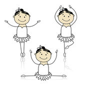 Cute little ballet dancers for your design — Stock Vector