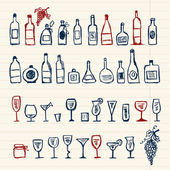 Sketch of alcohol's bottles and wineglasses — Stock Vector