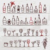 Set of alcohol's bottles and wineglasses on grunge background — Stock Vector