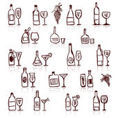 Set of alcohol's bottles and wineglasses — Stock Vector