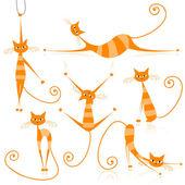Tasarımınız için zarif turuncu çizgili kedi — Stok Vektör