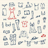 Collection of clothes sketch for your design — Stock Vector
