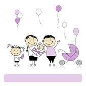 Happy birthday, parents with children, newborn baby — Stock Vector