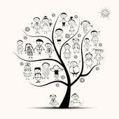 Family tree, relatives, sketch — Stock Vector