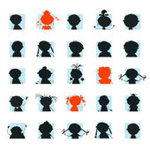 Icon, silhouettes of avatar — Stock Vector